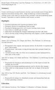 Sample Resume Account Executive Advertising Account Executive Resume Template Best Design Tips