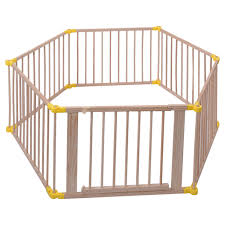 costway baby playpen 6 panel foldable wooden frame kids safety play fence in outdoor 0