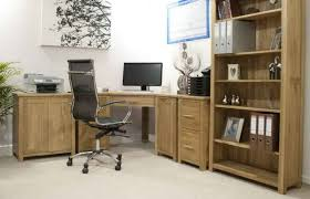 f attractive small home office design with natural brown oak wood corner office desk be equipped elegant stylish metal office mesh swivel chair also tower attractive wooden office desk