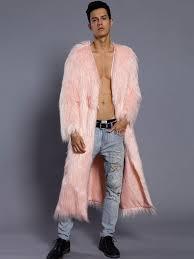 white overcoat men faux fur coat v neck long sleeve long winter coat no