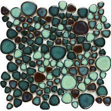 green porcelain pebble tile heart shaped mosaic glazed wall tiles bravotti com