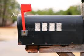 Side View Of A Mailbox With Flag Raised Stock Image Image of black