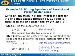 example 5a writing equations of parallel and perpendicular lines