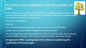 "flowers for algernon by daniel keyes objectives i can evaluate  14 ""flowers for algernon"""