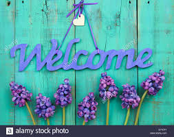 Welcome Purple Purple Welcome Sign With Wood Heart And Spring Flowers
