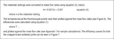 sample report section containing formulae with each formula marked with a number to the right