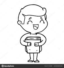 cartoon laughing man holding book stock vector