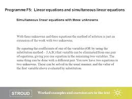 stroud worked examples and exercises are in the text simultaneous linear equations with three unknowns programme