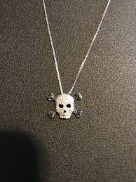 kay jewelers sterling skull and cross bones pendant necklace