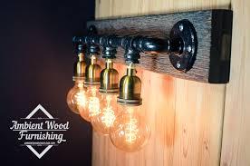 Barnwood Bathroom Pipe Barn Wood Industrial Bathroom Vanity Light Fixture Bar Light