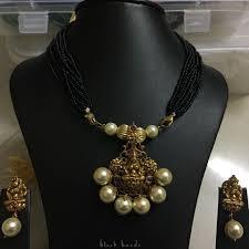Laxmi Pearls Designs Beautiful Black Bead Chain With Lakshmi Devi Motif