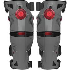 moto knee brace. storm grey/crimson moto knee brace