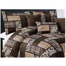 safari king comforter set animal print patchwork bedding leopard tiger zebra
