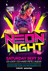 club flyer templates neon party flyer template flyer for electro dance and uv glow