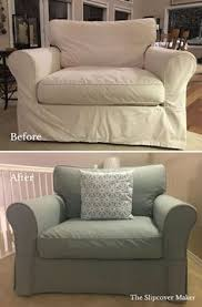 a slipcover replacement in minty aqua denim for this arhaus baldwin chair bye bye