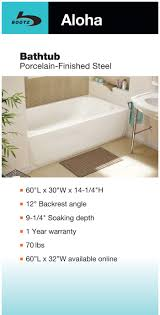 aloha 5 ft bath tub offers a timeless shape and beauty that goes with any facet or tile combination