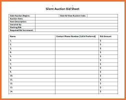 Sample Bid Sheets For Silent Auction 50 Silent Auction Bid Sheet Templates Printables Ambassador