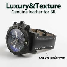 yq genuine leather watch band strap black brown blue soft watchbands for breitling watch man watch