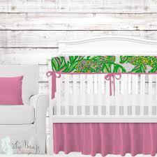 lilly pink green yellow white monkeys baby girl crib bedding
