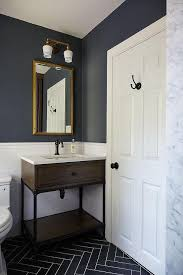 dark blue bathroom tiles. Brilliant Tiles Blue And Gray Kidu0027s Bathroom Features Upper Walls Painted Dark Blue  Lower Clad In White Subway Tiles Lined With A Wood Iron Washstand  Intended Dark Bathroom Tiles F