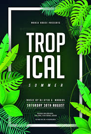 Green Party Flyer Tropical Summer Night Party Flyer Party Flyer Summer