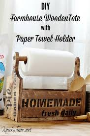 build your own diy farmhouse wooden tote with paper towel holder tutorial at knick of