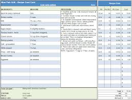 college selection spreadsheet menu recipe cost spreadsheet template
