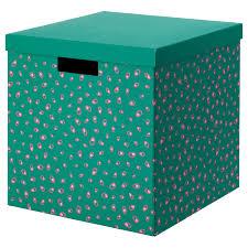 Купить <b>ТЬЕНА Коробка</b> с крышкой, зеленый точечный, 30x30x30 ...