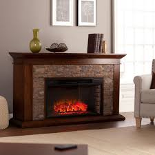 w simulated stone electric fireplace in whiskey maple