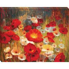 38 h x 30 w meadow poppies framed wall art