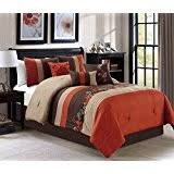 orange and brown bedding.  Brown Napa By Chezmoi Collection  7piece Luxury Leaves Scroll Embroidery Bedding  Comforter Set Queen Rust OrangeTaupeBrown In Orange And Brown