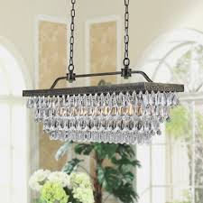 vintage rectangular chandeliers led lighting modern glass drops