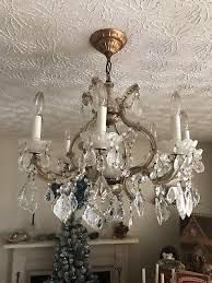 antique vintage italian crystal macaroni beaded chandelier prisms french