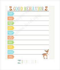 Positive Reinforcement Charts For Kids Free Behavior Charts 9 Free Pdf Psd Documents Download