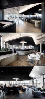 office cafeteria design. This Office Cafeteria Has Curved Concrete Bars And A Dramatic Black Ceiling. Design