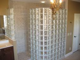 walk in showers no doors in glass box wall plus luxury chandeliers plus  tile for bathroom