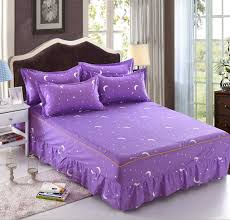 purple star moon twin full queen size bed skirt with elastic bandage bedspreads bedding maress cover home textiles linen bedskirt crib dust ruffle from