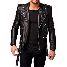 motorcycle er genuine leather jacket for men jk39