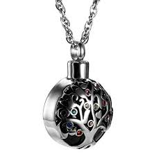amist tree of life with multicolor crystal pendant cremation jewelry urn necklace memorial ashes holder