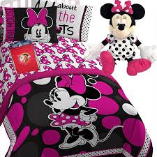 ROCK The DOTS Disney MINNIE MOUSE Girls PiNK and Black POLKA DOTS TWIN/FULL Comforter(71
