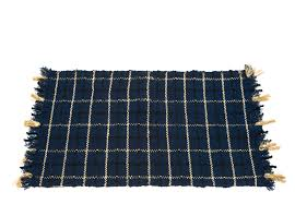 alternative image 1 wool flat weave throw rug with gold black and blue lines