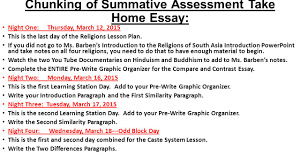 academic a religions of south asia lesson plan date and  chunking of summative assessment take home essay night one thursday 12