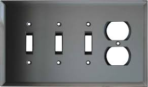 glass mirror grey tint switch plates covers 3 toggle duplex combo