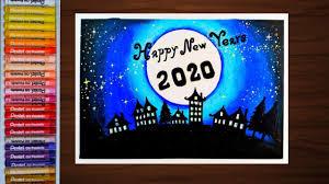 โปสการ์ดวันปีใหม่ ด้วยสีชอล์ค How to draw New Year Postcard 2020 - YouTube