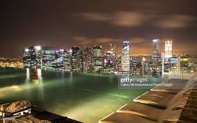 Infinity Pool At Marina Bay Sands Hotel At Night Singapore Stock