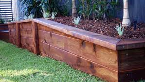 engineered sleeper retaining walls garden planter boxes