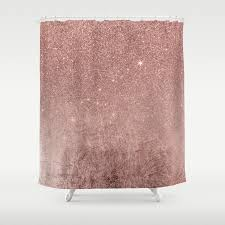 girly glam pink rose gold foil and glitter mesh shower curtain