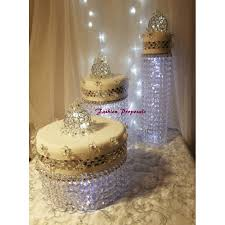 wedding cake stand cascade waterfall crystal set of 3 asianwedding crystal cake stand wedding with a battery operated led light