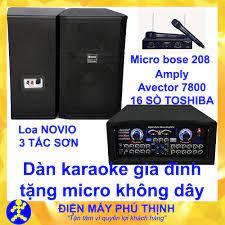 Trả góp 0%]Dàn karaoke gia đình Dàn karaoke gia đình hay Dàn karaoke giá rẻ  CẶP LOA NOVIO 3 TẤC SƠN VÀ AMPLY KARAOKE AVECTOR 4000 TẶNG 2 MICRO KHÔNG  DÂY