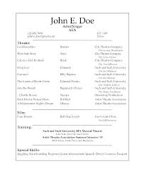Audition Resume Templates Theatrical Resume Template Acting Colleges Beautiful Tes
